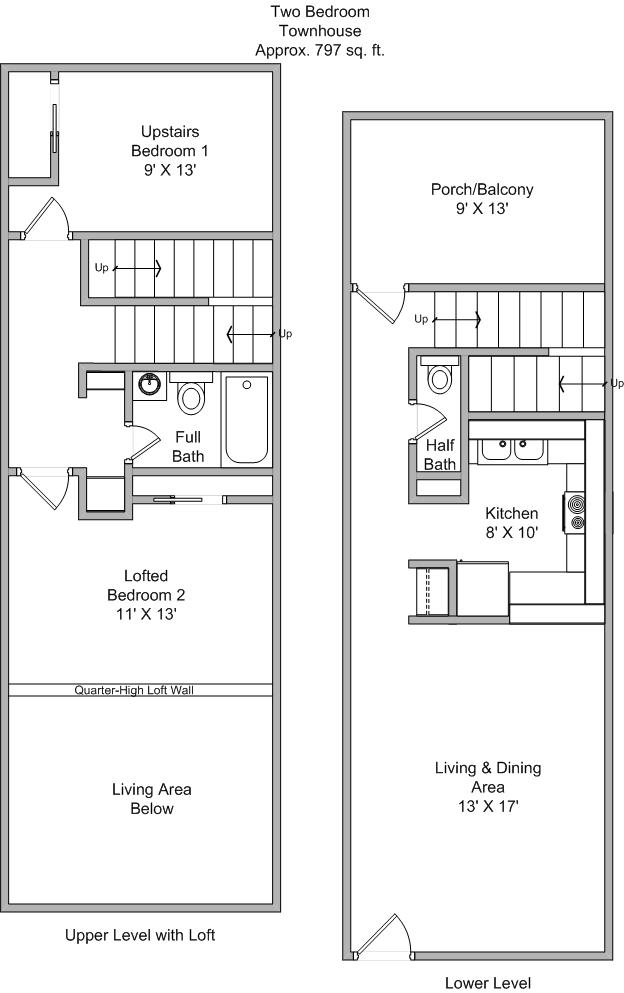 Townhouse floor plans joy studio design gallery best Two bedroom townhouse plans